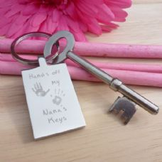Engraved Handprint Keyring - Hands Off Keys